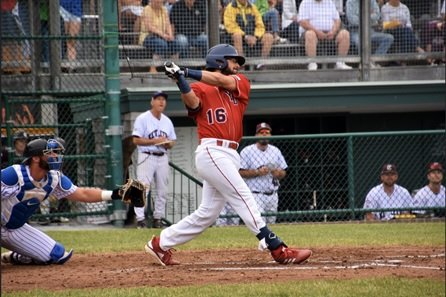 Austin Wells hitting for the Yarmouth Dennis Red Sox of the Cape Cod Baseball League.