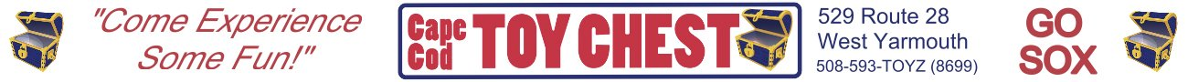Logo for Cape Cod Toy Chest who is sponsor of the Yarmouth Dennis Red Sox to promote baseball and family fun on Cape Cod