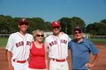 College baseball players with their host family