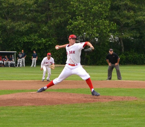 Shane Bieber throwing a pitch for the Yarmouth Dennis Red Sox in 2015