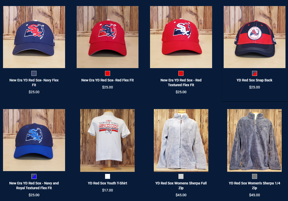 The Y-D Red Sox Team Store is Open!