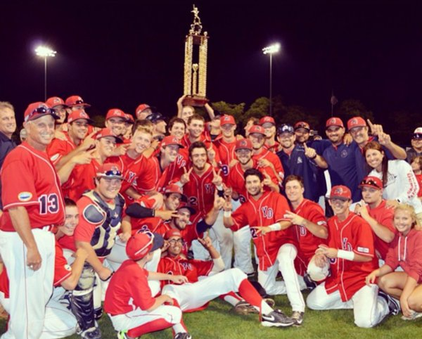 2015 Yarmouth Dennis Red Sox Championship Team Holding up the trophy.
